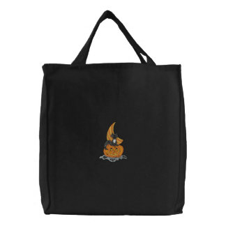 Pumpkin Cat Embroidered Tote Bag
