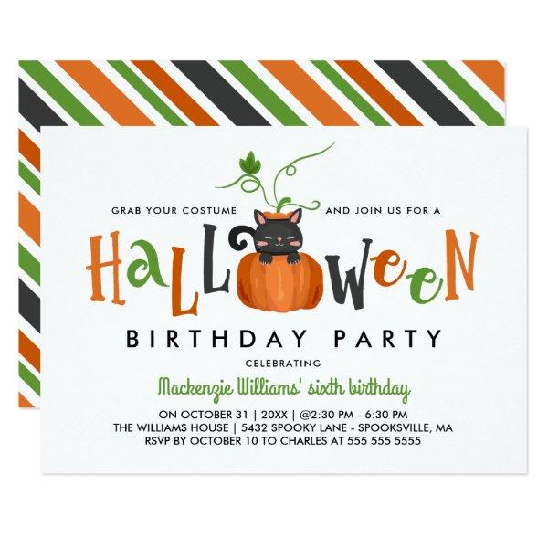 Pumpkin Cat - Halloween Birthday Party Invitation