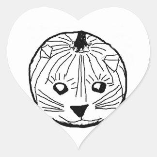 Pumpkin Cat Heart Sticker