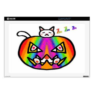 """Pumpkin Cat White 17"""" Laptop Skins"""