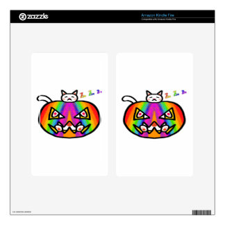 Pumpkin Cat White Skin For Kindle Fire