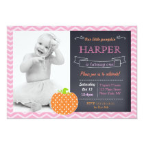 Pumpkin Chalkboard Birthday Invitations