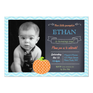 Pumpkin Chalkboard Birthday Invitations