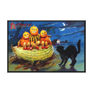 Pumpkin Characters and Black Cat Canvas Print
