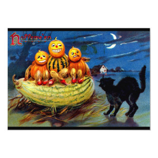 Pumpkin Characters and Black Cat Personalized Announcements