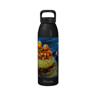 Pumpkin Characters and Black Cat Water Bottle
