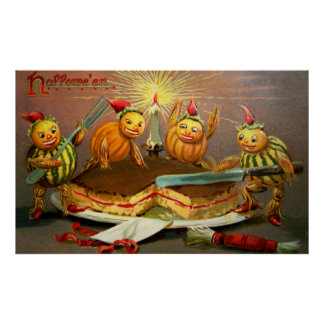 Pumpkin Characters Cutting Cake Poster