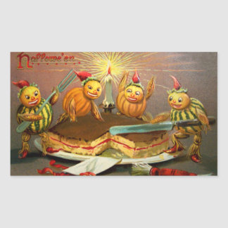 Pumpkin Characters Cutting Cake Rectangular Sticker