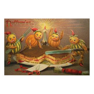 Pumpkin Characters Cutting Cake Wood Wall Art