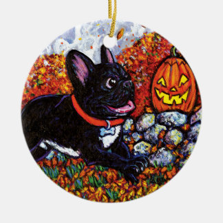 Pumpkin Chaser Double-Sided Ceramic Round Christmas Ornament