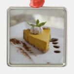 Pumpkin Cheesecake Square Metal Christmas Ornament