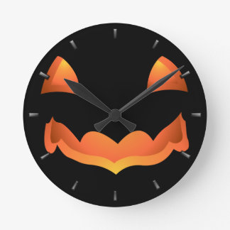 Pumpkin Clock Halloween Jack-O-Lantern Wall Clock