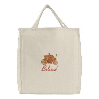 Pumpkin Coach Embroidered Tote Bag