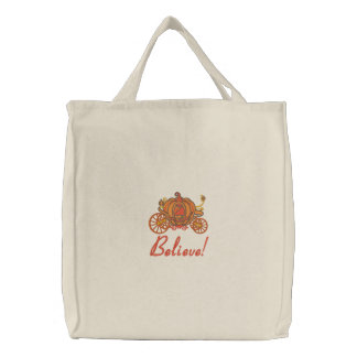 Pumpkin Coach Embroidered Tote Bag