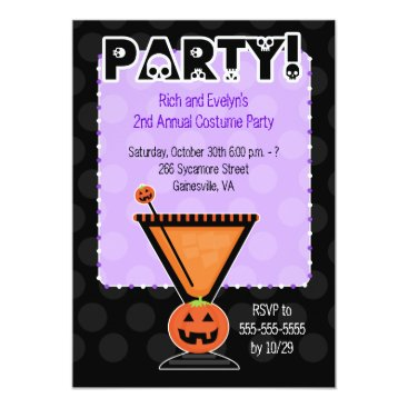Pumpkin Cocktail Adult Costume Party Invitation