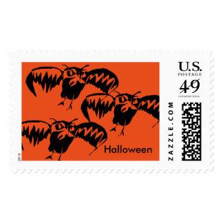 Pumpkin Color Halloween Postage Stamp Owl Theme