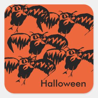 Pumpkin Color Halloween Stickers Owl Theme