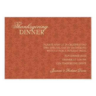 Pumpkin Color Thanksgiving Dinner Invitation