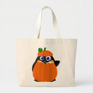 Pumpkin Costume Halloween Penguin Large Tote Bag