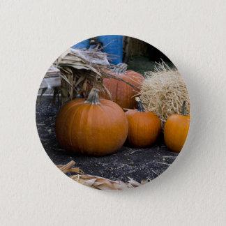 Pumpkin Country Farm Scene Button