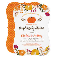 Pumpkin couples baby shower invitation Fall Autumn