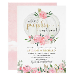 Pumpkin couples baby shower, pink gold elegant invitation