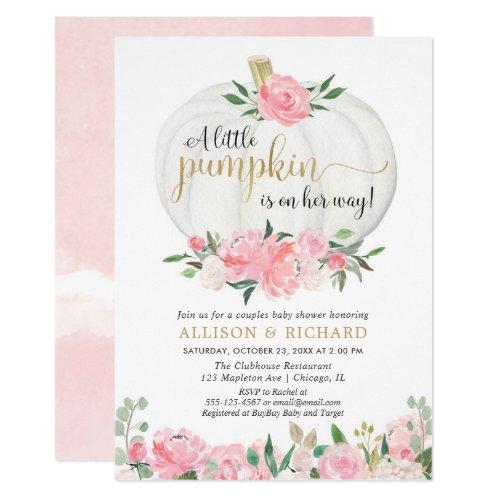 Pumpkin couples baby shower pink gold elegant invitation