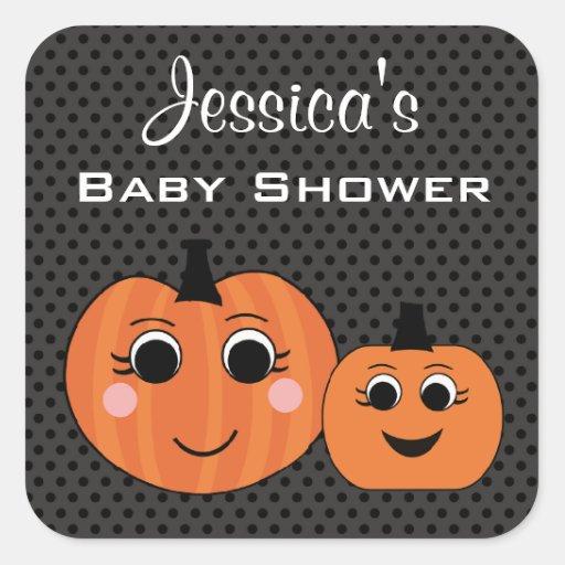 pumpkin custom halloween baby shower stickers zazzle