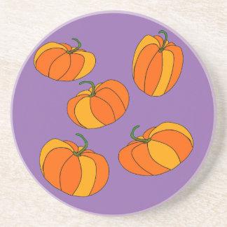 Pumpkin Design on Sandstone Drink Coasters
