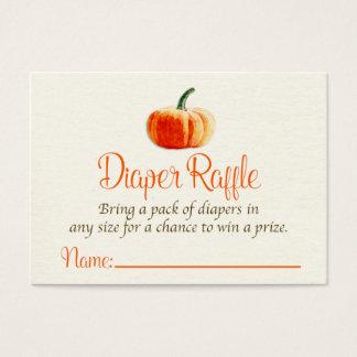 Pumpkin Diaper Raffle Card, Diaper Raffle Card