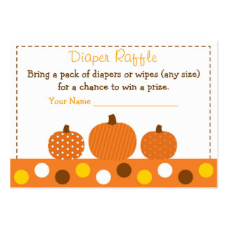 Pumpkin Diaper Raffle Tickets Large Business Cards (Pack Of 100)