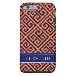 Pumpkin Dk Gray Med Greek Key Diag T Name Monogram Tough iPhone 6 Case