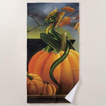 Halloween Themed Pumpkin Dragon Beach Towel