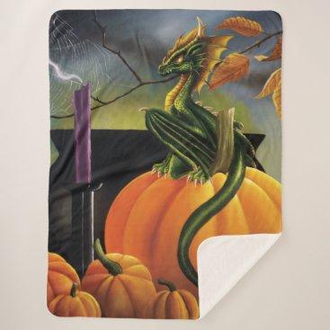Halloween Themed Pumpkin Dragon Sherpa Blanket
