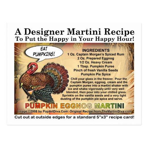 Pumpkin Eggnog Thanksgiving Martini Recipe Card Postcard   Zazzle