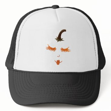 Halloween Themed pumpkin eyelashes trucker hat
