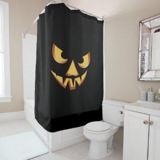 Pumpkin face 3 for Helloween Shower Curtain