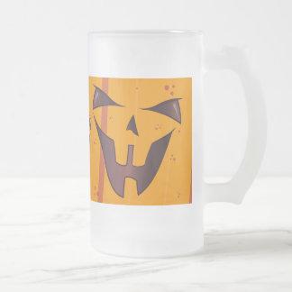 Pumpkin Face Frosted Glass Beer Mug