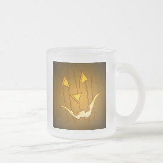 Pumpkin Face Frosted Glass Coffee Mug