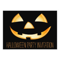 Pumpkin Face Halloween Party Invitation Card