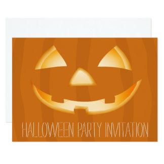 Pumpkin Face Halloween Party Invitation Card 2