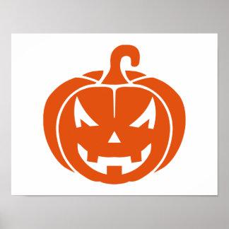Pumpkin face halloween poster
