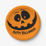Pumpkin Face Happy Halloween Party Paper Plate