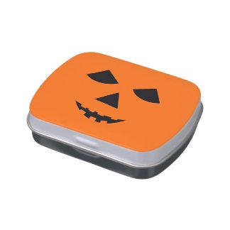 Pumpkin Face Jack-O-Lantern Halloween Treats Candy Tins