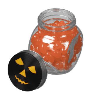 Pumpkin Face Lit Jack-O-Lantern Halloween Treats Glass Jar