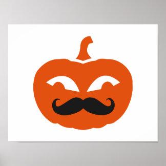 Pumpkin face mustache print