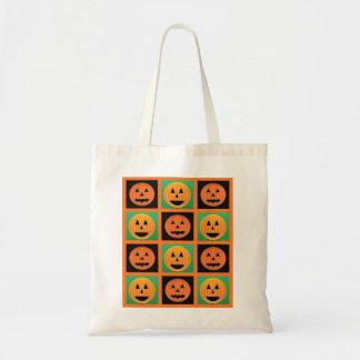 Pumpkin face pattern tote bag