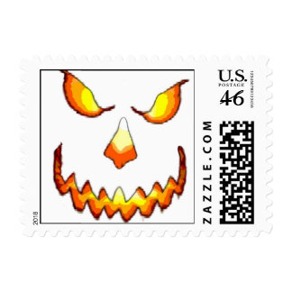 Pumpkin Face Postage Stamp