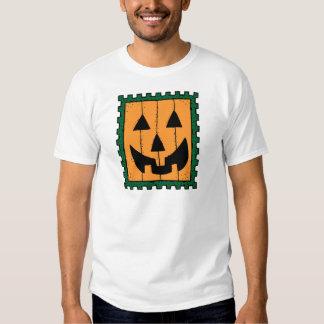 Pumpkin Face Stamp Design T Shirt