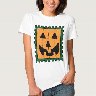 Pumpkin Face Stamp Design Tee Shirt